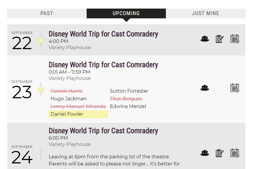 Screenshot of Cast98's online rehearsal schedule